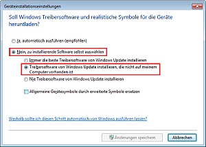 Treibersuche in Windows Update aktivieren