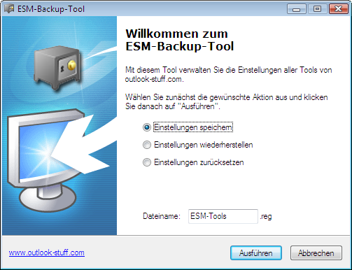Screenshot des Backup-Tools