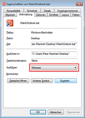 Eigenschaften WatchOutlook.bat Windows 7