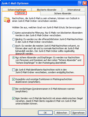 Junk-E-Mail-Optionen