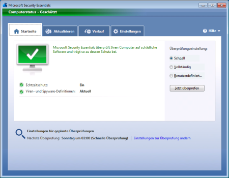 Screenshot Microsoft Security Essentials - Startseite
