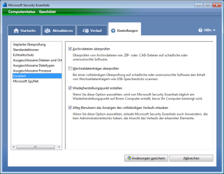 Screenshot Microsoft Security Essentials - Register Einstellungen Erweitert