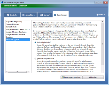 Screenshot Microsoft Security Essentials - Register Einstellungen Microsoft SpyNet
