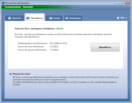 Screenshot Microsoft Security Essentials - Register Aktualisieren