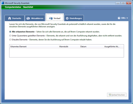 Screenshot Microsoft Security Essentials - Register Verlauf