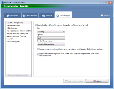 Screenshot Microsoft Security Essentials - Register Einstellungen Geplante Überprüfung