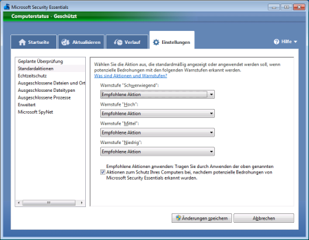 Screenshot Microsoft Security Essentials - Register Einstellungen Standardaktionen