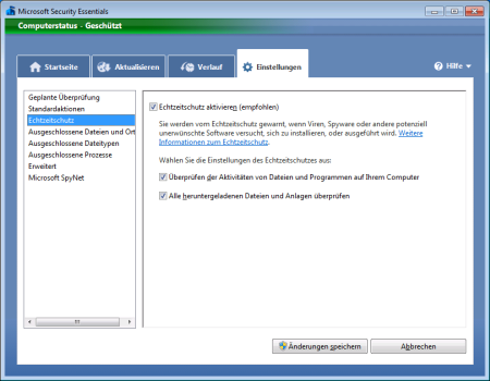 Screenshot Microsoft Security Essentials - Register Einstellungen Echtzeitschutz