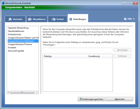Screenshot Microsoft Security Essentials - Register Einstellungen Ausgeschlossene Dateitypen