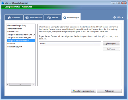Screenshot Microsoft Security Essentials - Register Einstellungen Ausgeschlossene Prozesse