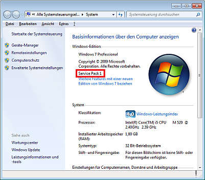 Serivepack unter Windows 7